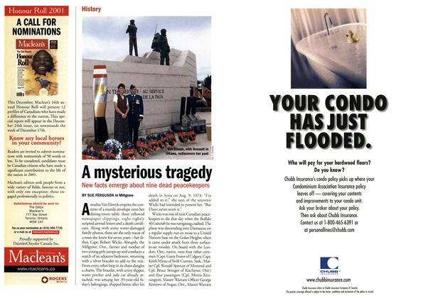 Article Preview: A mysterious tragedy, November 2001 | Maclean's
