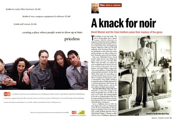 Article Preview: A knack for noir, November 2001 | Maclean's