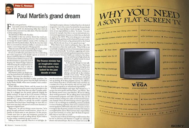 Article Preview: Paul Martin's grand dream, November 19,2001 2001 | Maclean's