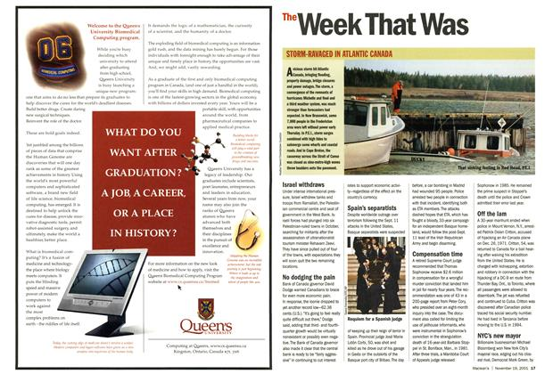 Article Preview: The Week That Was, November 19,2001 2001 | Maclean's