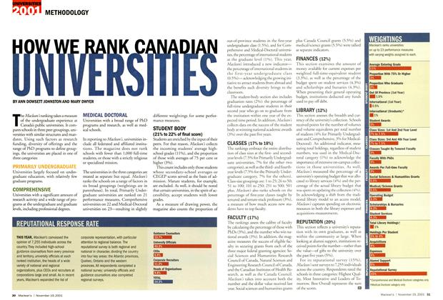 Article Preview: HOW WE RANK CANADIAN UNIVERSITIES, November 19,2001 2001 | Maclean's