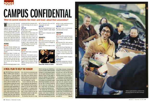 Article Preview: CAMPUS CONFIDENTIAL, November 19,2001 2001 | Maclean's
