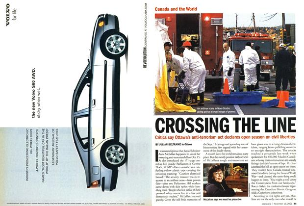 Article Preview: CROSSING THE LINE, November 19,2001 2001 | Maclean's