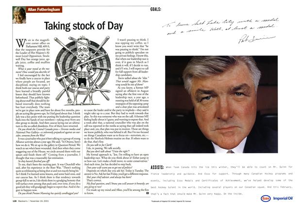 Article Preview: Taking stock of Day, November 19,2001 2001 | Maclean's