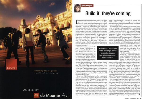 Article Preview: Build it: they're coming, November 2001 | Maclean's