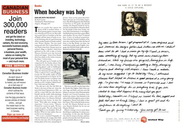 Article Preview: When hockey was holy, November 2001 | Maclean's