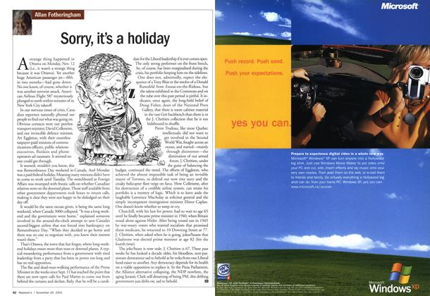 Article Preview: Sorry, it's a holiday, November 2001 | Maclean's