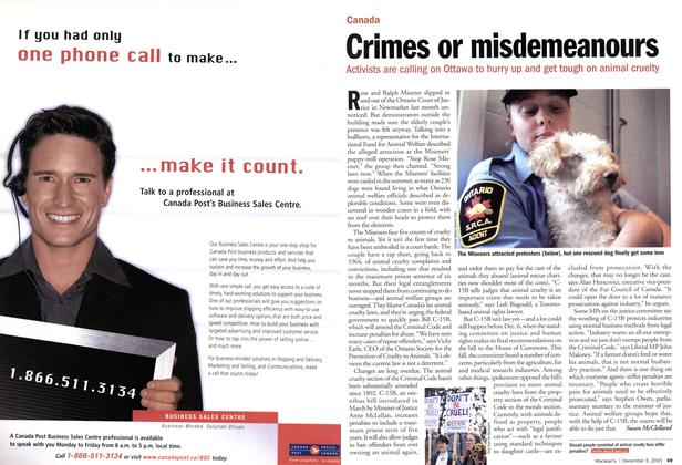 Article Preview: Crimes or misdemeanours, December 2001 | Maclean's