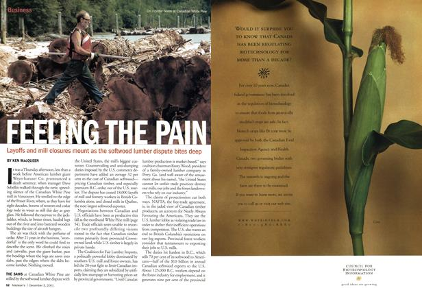 Article Preview: FEELING THE PAIN, December 2001 | Maclean's
