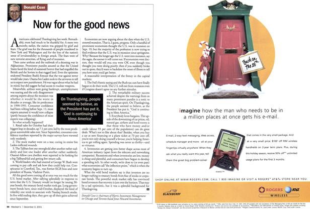 Article Preview: Now for the good news, December 2001 | Maclean's