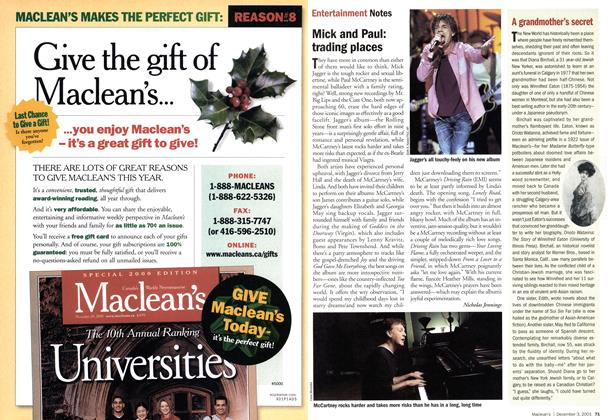 Article Preview: Entertainment Notes, December 2001 | Maclean's