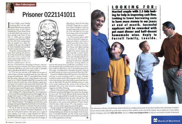 Article Preview: Prisoner 0221141011, December 2001   Maclean's