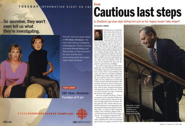 Article Preview: Cautious last steps, December 2001 | Maclean's