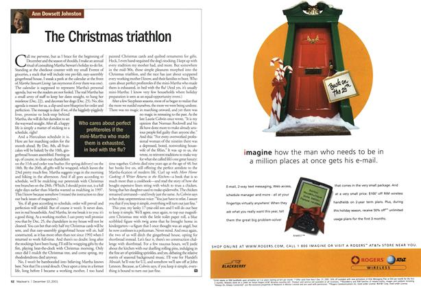 Article Preview: The Christmas triathlon, December 2001 | Maclean's