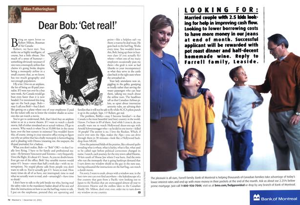 Article Preview: Dear Bob: 'Get real!', December 2001 | Maclean's