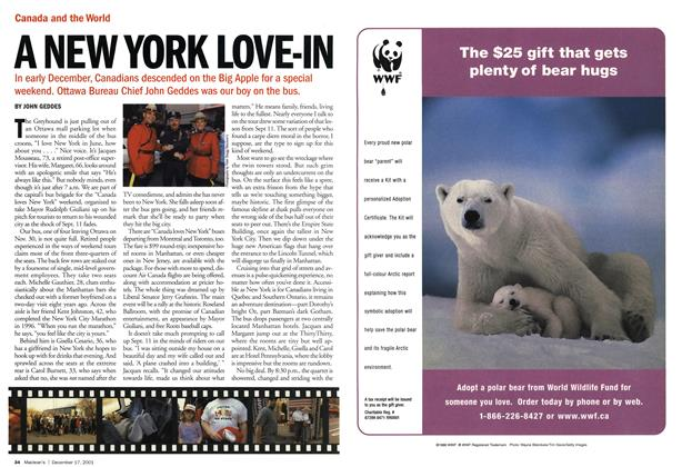 Article Preview: A NEW YORK LOVE-IN, December 2001 | Maclean's