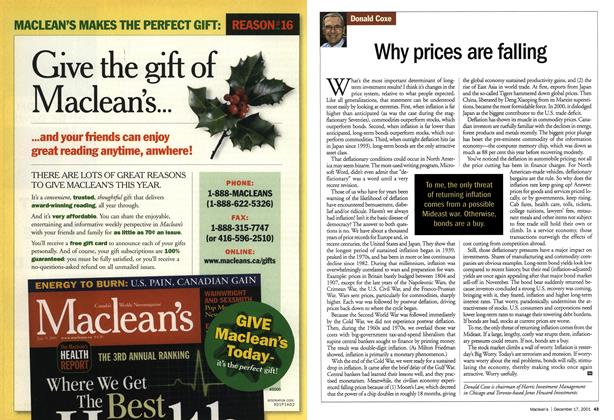 Article Preview: Why prices are falling, December 2001 | Maclean's