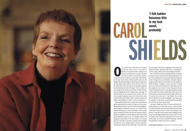 Article Preview: CAROL SHIELDS, December 2001 | Maclean's