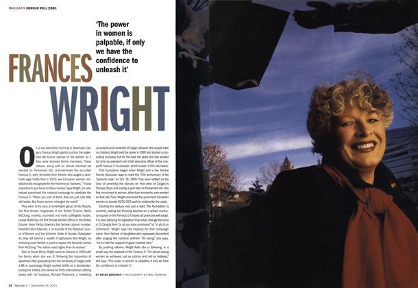 Article Preview: FRANCES WRIGHT, December 2001 | Maclean's