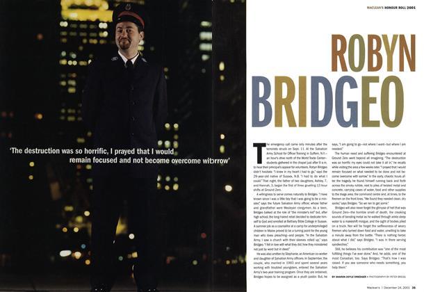 Article Preview: ROBYN BRIDGEO, December 2001 | Maclean's