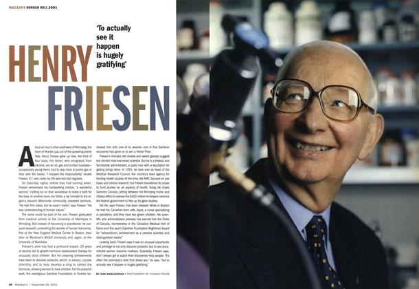 Article Preview: HENRY FRIESEN, December 2001 | Maclean's