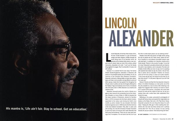 Article Preview: LINCOLN ALEXANDER, December 2001 | Maclean's