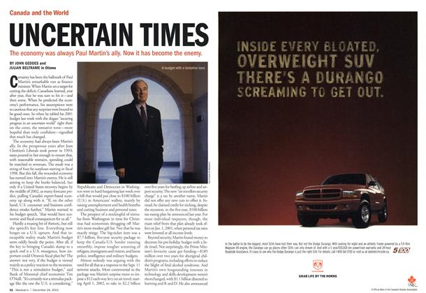 Article Preview: UNCERTAIN TIMES, December 2001 | Maclean's