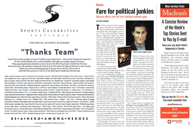 Article Preview: Fare for political junkies, December 2001 | Maclean's