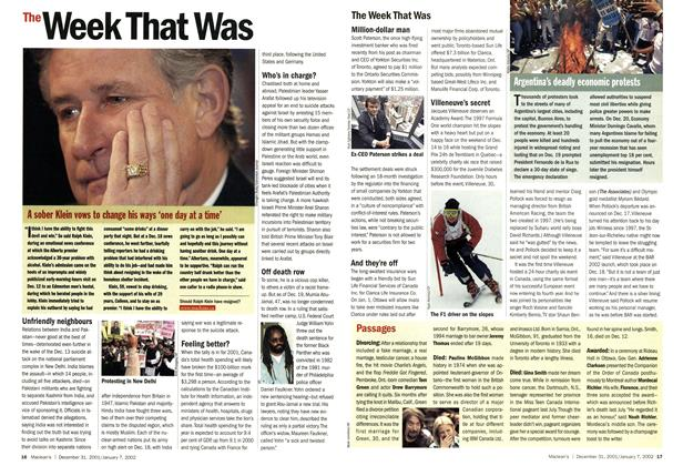 Article Preview: The Week That Was, December 2001 | Maclean's