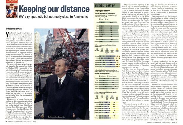 Article Preview: Keeping our distance, December 2001 | Maclean's