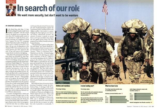 Article Preview: In search of our role, December 2001 | Maclean's