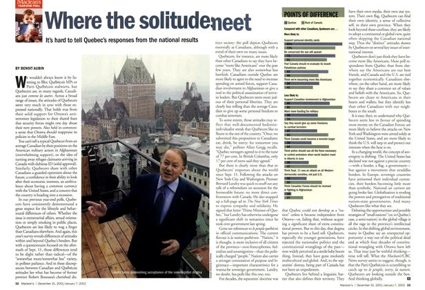 Article Preview: Where the solitudes meet, December 2001 | Maclean's
