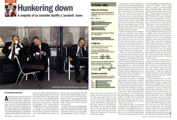 Article Preview: Hunkering down, December 2001 | Maclean's