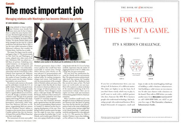 Article Preview: The most important job, December 2001 | Maclean's