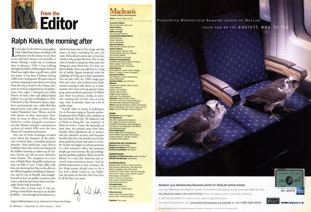 Article Preview: From the Editor, December 2001   Maclean's