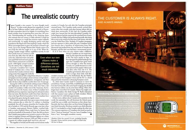 Article Preview: The unrealistic country, December 2001 | Maclean's