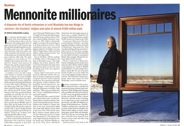 Article Preview: Mennonite millionaires, January 2002 | Maclean's