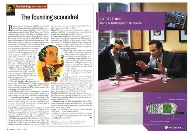 Article Preview: The founding scoundrel, January 2002   Maclean's