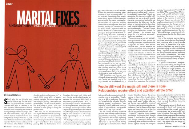 Article Preview: MARITAL FIXES A NEWISH THERAPY HOLDS PROMISE FOR TROUBLED UNIONS, January 2002 | Maclean's