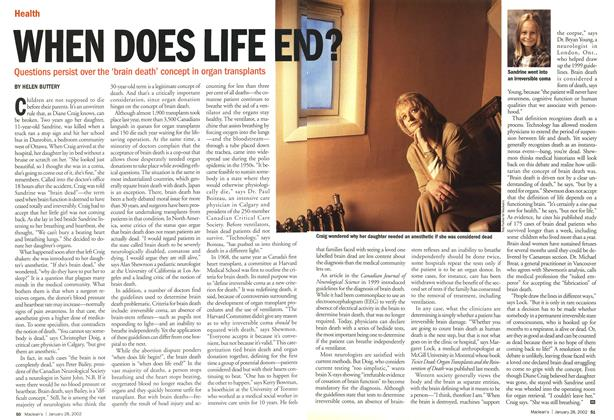 Article Preview: WHEN DOES LIFE END?, January 2002 | Maclean's