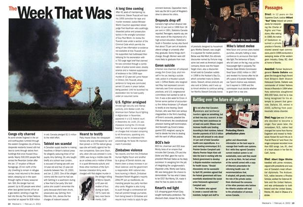 Article Preview: The Week That Was, February 2002   Maclean's