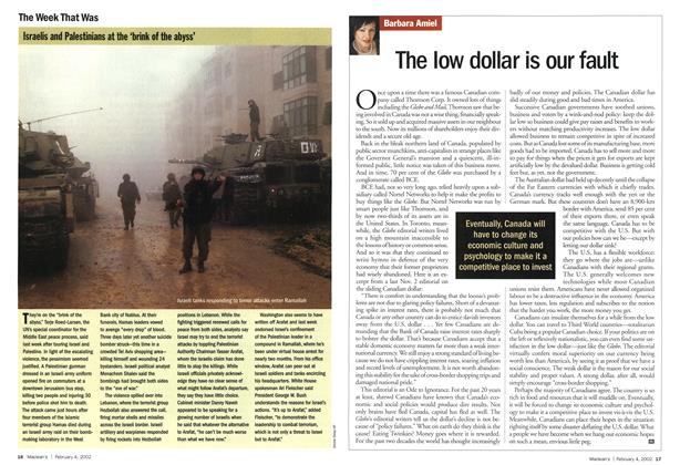 Article Preview: The low dollar is our fault, February 2002 | Maclean's