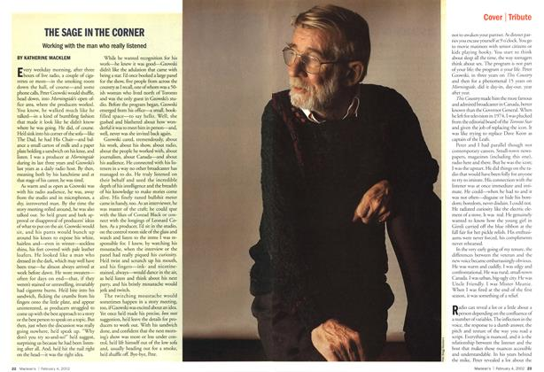Article Preview: THE SAGE IN THE CORNER, February 2002 | Maclean's