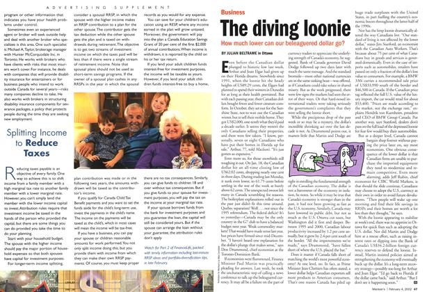 Article Preview: The diving loonie, February 2002 | Maclean's