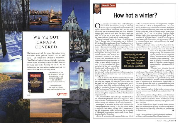 Article Preview: How hot a winter?, February 2002 | Maclean's