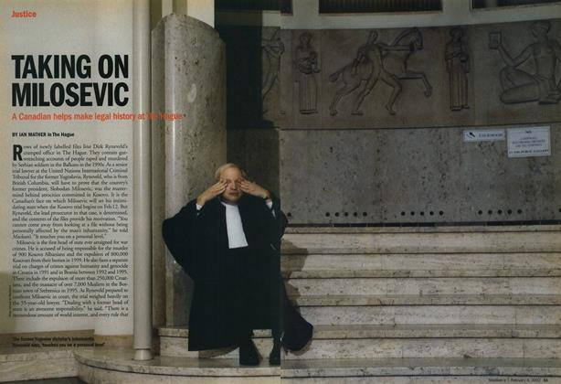 Article Preview: TAKING ON MILOSEVIC, February 2002 | Maclean's