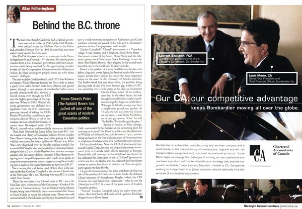 Article Preview: Behind the B.C. throne, February 2002 | Maclean's