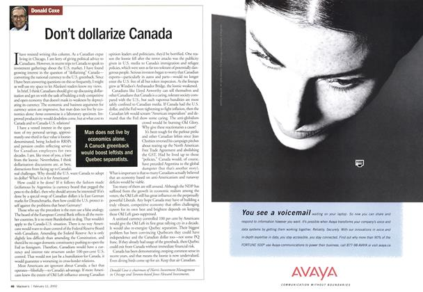 Article Preview: Don't dollarize Canada, February 2002 | Maclean's