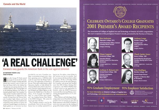 Article Preview: 'A REAL CHALLENGE', February 2002 | Maclean's