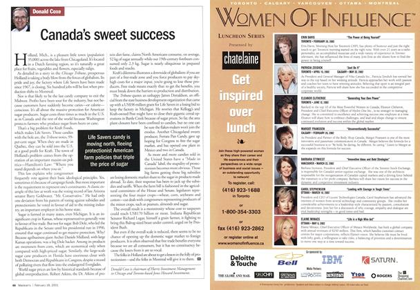 Article Preview: Canada's sweet success, February 2002 | Maclean's
